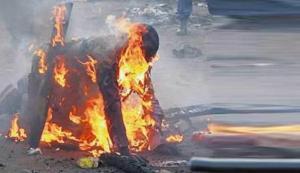 Homem queimado vivo